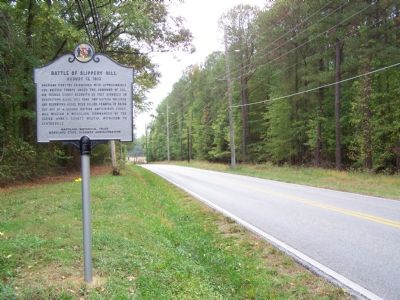 View of marker and road. Photo, Click for full size