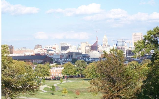 Carroll Park from the Mt. Clare Mansion with city skyline. image. Click for full size.