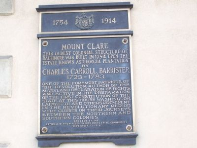 Mt. Clare 1754 - 1914 Marker Photo, Click for full size