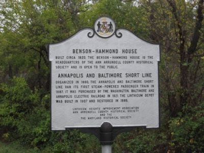 Benson-Hammond House Marker, North Side image. Click for full size.