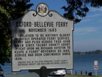 Oxford - Bellevue Ferry Marker image. Click for full size.