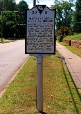 Watts-Todd-Dunklin House Marker - Reverse image. Click for full size.