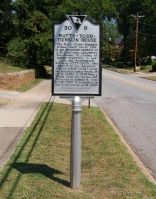 Watts-Todd-Dunklin House Marker - Front image. Click for full size.