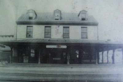 Original Reading RR Passenger Station Photo on Marker image. Click for full size.
