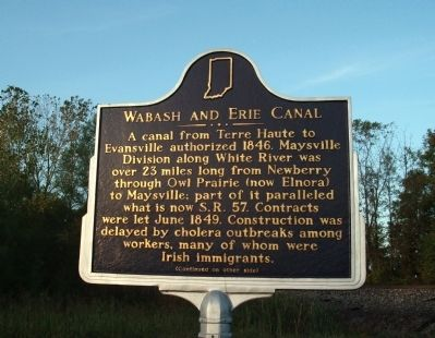 Side A - - Wabash and Erie Canal Marker image. Click for full size.