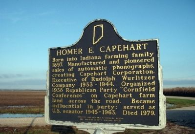 Side A - - Homer E. Capehart / GOP Cornfield Conference Marker image. Click for full size.