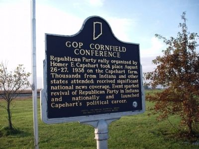 Side B - - Homer E. Capehart / GOP Cornfield Conference Marker image. Click for full size.