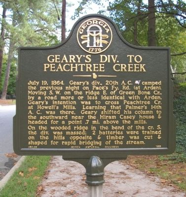 Geary's Div. to Peachtree Creek Marker image. Click for full size.