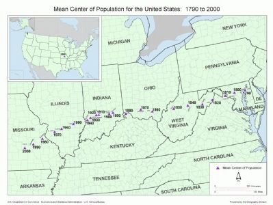 Mean Center of Population for the United States image. Click for full size.