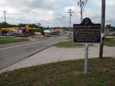 Wide West View - - Wabash and Erie Canal Marker image. Click for full size.