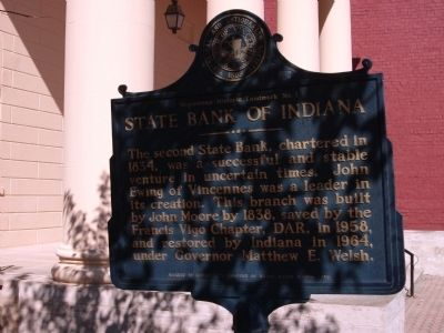Obverse View - - State Bank of Indiana Marker image. Click for full size.