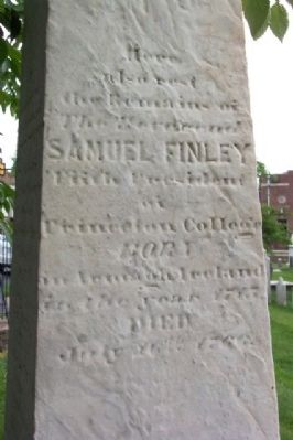 Rev. Samuel Finley Headstone Obelisk image. Click for full size.