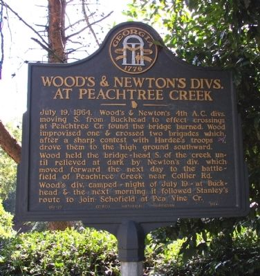Wood's & Newton's Divs. at Peachtree Creek Marker image. Click for full size.