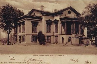 Laurens County Courthouse Historic Postcard Photo, Click for full size