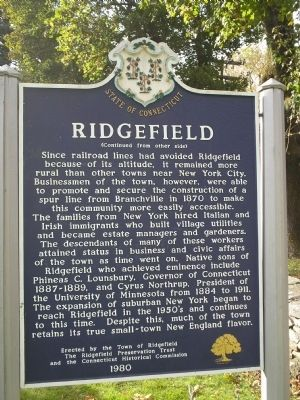 Ridgefield Marker (Reverse Side) Photo, Click for full size