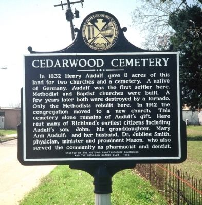 Cedarwood Cemetery Marker image. Click for full size.