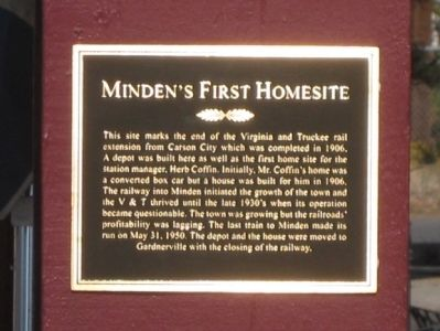 Minden's First Homesite Marker image. Click for full size.