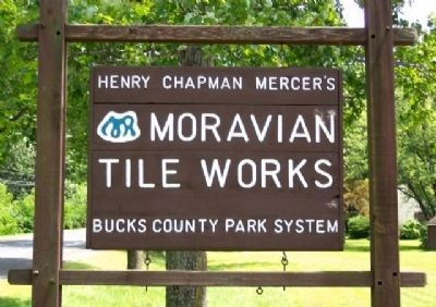 Moravian Pottery and Tile Works Sign at Entrance image. Click for full size.