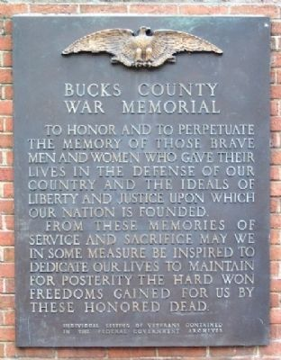 Bucks County War Memorial Marker image. Click for full size.