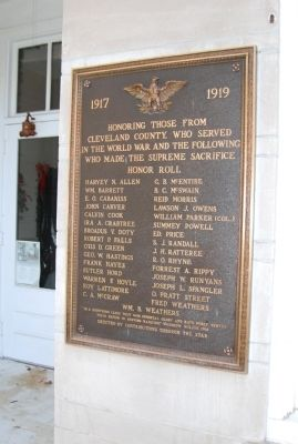Cleveland County World War I Memorial Marker image. Click for full size.