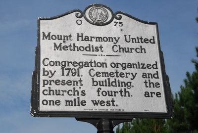 Mount Harmony United Methodist Church Marker image. Click for full size.