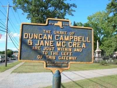 The Grave of Duncan Campbell & Jane McCrea Marker, Fort Edward, NY Photo, Click for full size