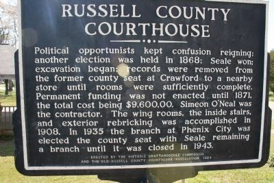Old Russell County Courthouse Marker Reverse side image. Click for full size.
