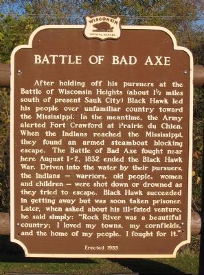 Battle of Bad Axe Marker image. Click for full size.
