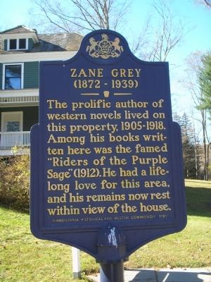Zane Grey Marker image. Click for full size.