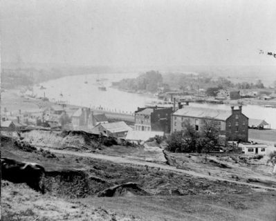 View of Rocketts [Landing] and south side of James River from Libby Hill. image. Click for full size.