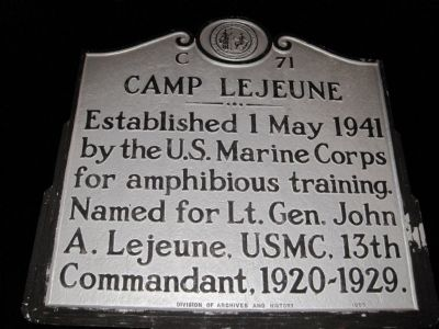 Camp Lejeune Marker image. Click for full size.