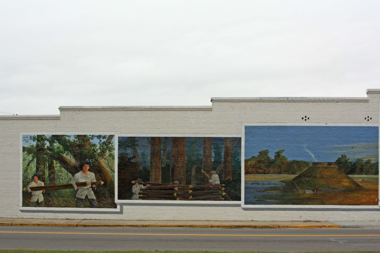 Siege of Fort Watson mural, 3 of 4 panels