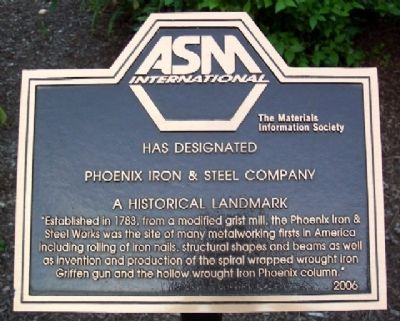 Phoenix Iron & Steel Co. Historical Landmark Marker image. Click for full size.