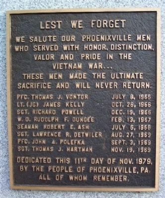 Phoenixville Vietnam War Memorial Marker image. Click for full size.