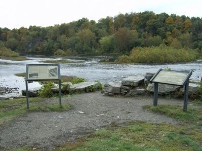 View of the two interpretive markers at Dam 5 image. Click for full size.