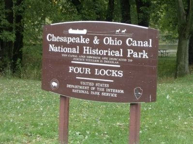 NPS sign at entrance to Four Locks site Photo, Click for full size