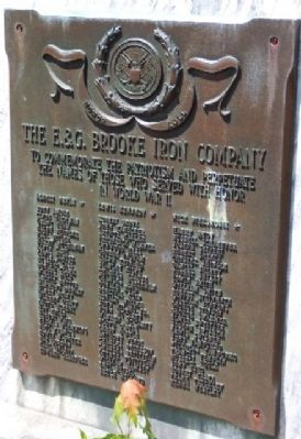 The E. & G. Brooke Iron Company World War II Memorial Marker image. Click for full size.