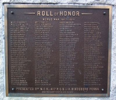 Birdsboro World War I Memorial Marker image. Click for full size.