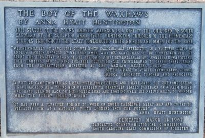 The Boy of the Waxhaws Marker image. Click for full size.