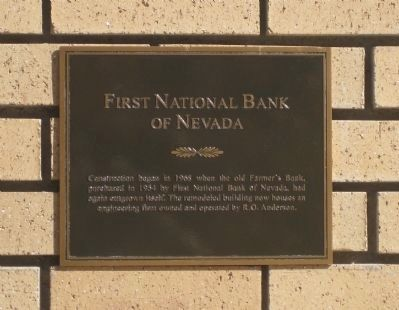 First National Bank of Nevada Marker image. Click for full size.