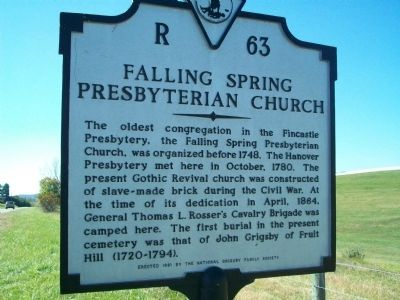 Falling Spring Presbyterian Church Marker Photo, Click for full size