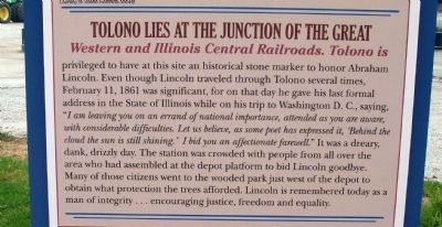 Middle Section - - Lincoln in Tolono Marker image. Click for full size.