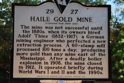Haile Gold Mine Historical Marker