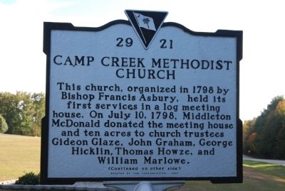 Camp Creek Methodist Church Marker image. Click for full size.