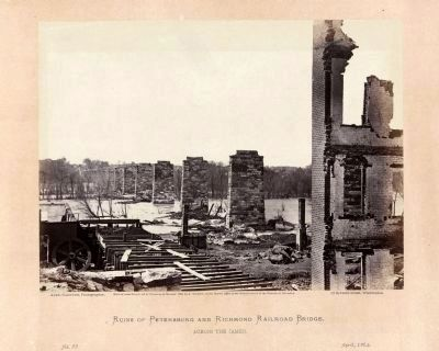 Ruins of Petersburg and Richmond railroad bridge, across the James. image. Click for full size.