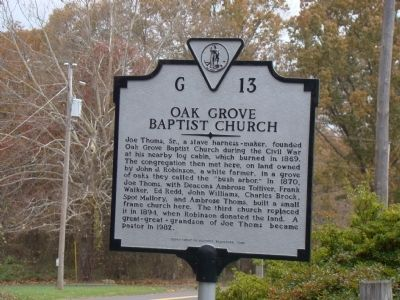 Oak Grove Baptist Church Marker Photo, Click for full size