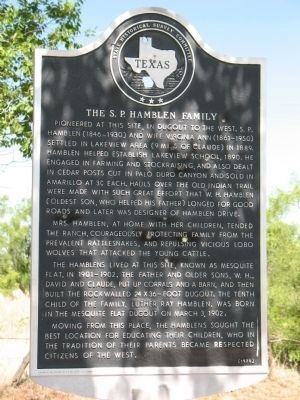 The S.P. Hamblen Family Marker image. Click for full size.