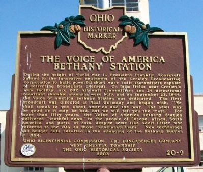 The Voice of America Bethany Station Marker image. Click for full size.