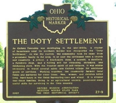 The Doty Settlement Marker (Side A) image. Click for full size.