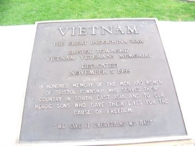 Bristol Township Vietnam Veterans Memorial Marker Photo, Click for full size